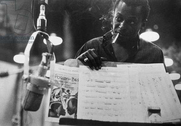 Miles Davis (1926-1991) American Composer and Jazz Trumpet Player, in Studio For Recording of Porgy and Bess By Georgegershwin, 1958 (b/w photo)
