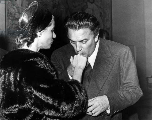 Director Federico Fellini Kissing Hand of Ingrid Bergman in Rome November 10, 1957 (b/w photo)