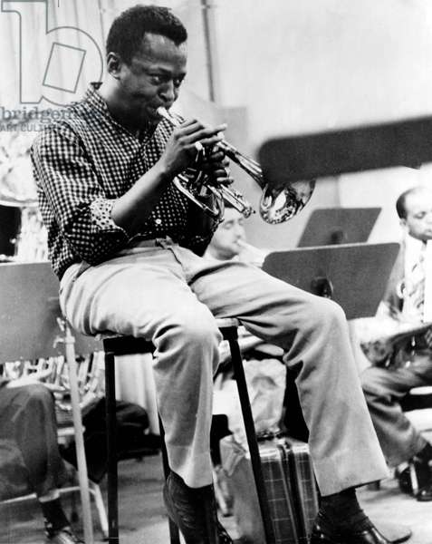 Miles Davis (1926-1991) American Composer and Jazz Trumpet Player, here C. 1959 (b/w photo)