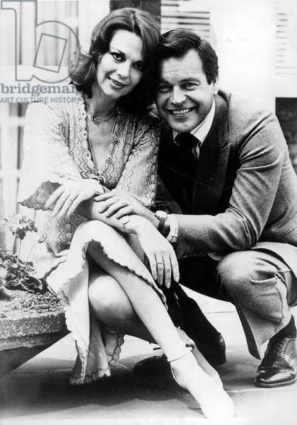 Natalie Wood and Robert Wagner After Their Second Wedding June 24, 1976 (b/w photo)