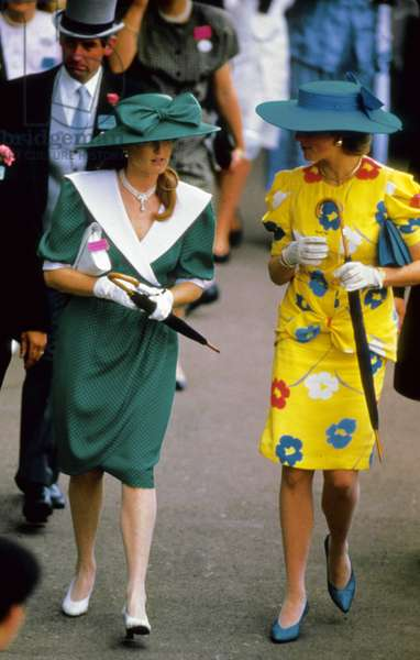 Sarah Ferguson And The Princess Of Wales Diana (Diana Spencer, Lady Di) In Ascot In June 1987 (b/w photo)