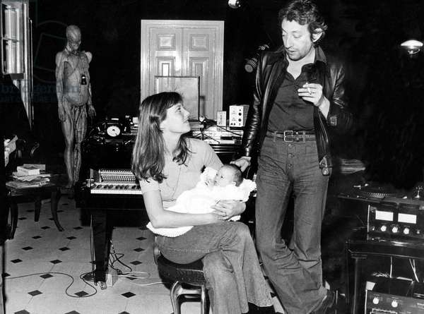 Jane Birkin and Serge Gainsbourg With Their Daughter Charlotte at Home in Paris in 1972 (b/w photo)
