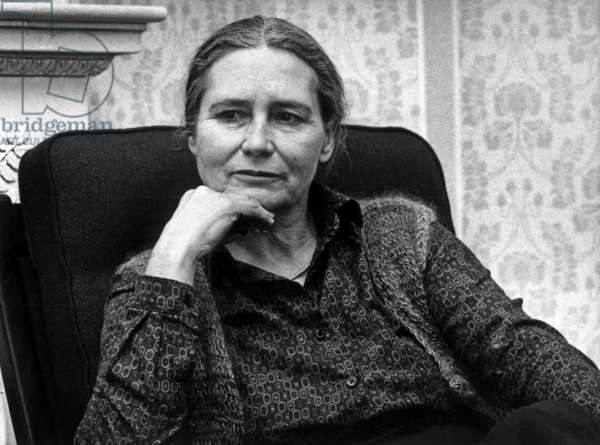 Doris Lessing, Feminist English Writer, here in March 1982 in Finland (b/w photo)