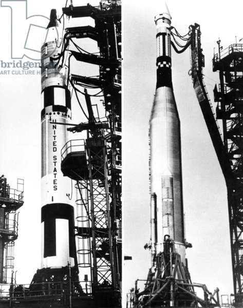 Cape Kenedy: on The Left Is Gemini Vi Space Capsule (With W. Schierra and Stafford) on Titan Boosters and on The Right Is Agena Space Capsule on Atlas Boosters : Their Will Meet Into Space October 25, 1965 (Gemini Project) (b/w photo)