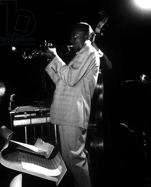 Miles Davis (1926-1991) American Composer and Jazz Trumpet Player, here at The Birdland in January 1949 (b/w photo)