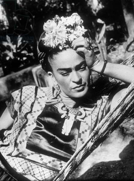 Mexican Painter Frida Kahlo (1907-1954) in A Hammock, 1948 (b/w photo)