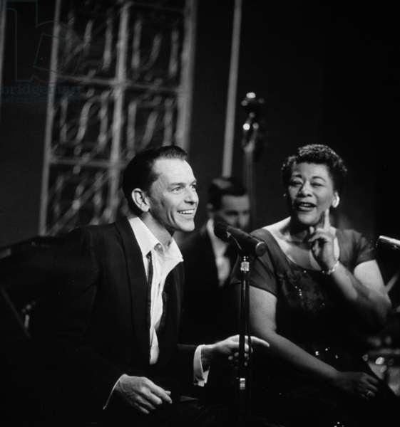Frank Sinatra With Ella Fitzgerald in 1950 (b/w photo)