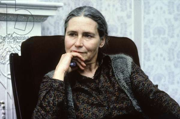 Doris Lessing Feminist English Writer here in March 1982 in Finland (photo)