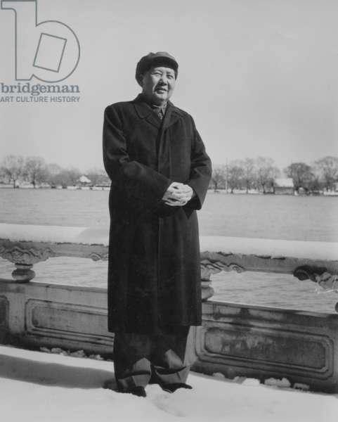 Mao Zedong (1893-1976) Chinese Communist Dictator, here Train C. 1965 (b/w photo)