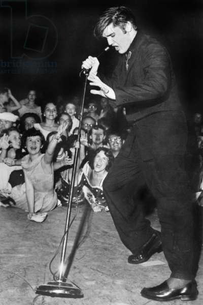 Elvis Presley on Stage in The 50'S (b/w photo)