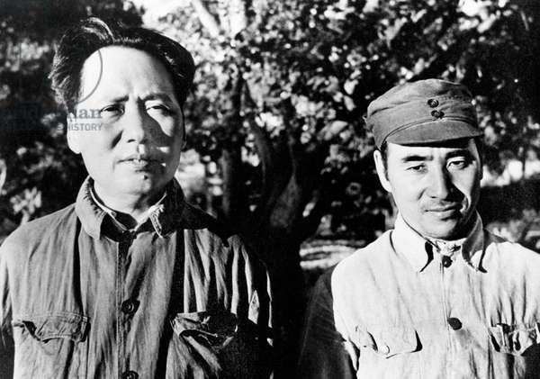 Mao Zedong (1893-1976) and Liu Shao Shi C. 1940 (b/w photo)