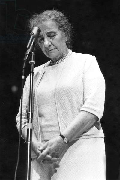 Golda Meir (1898-1978) Israeli Prime Minister, here Communing With Herself during A Speech in The 70'S (b/w photo)