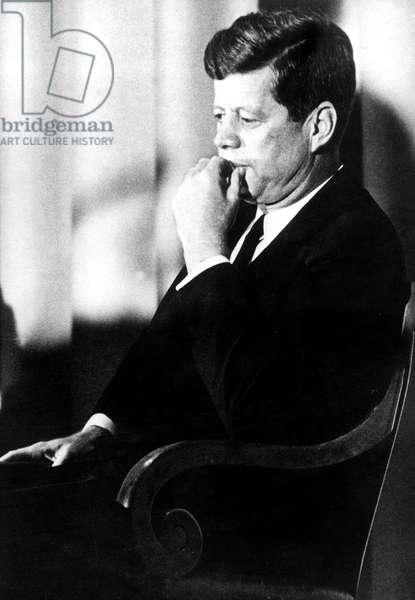 American President John F. Kennedy August 1963 (b/w photo)