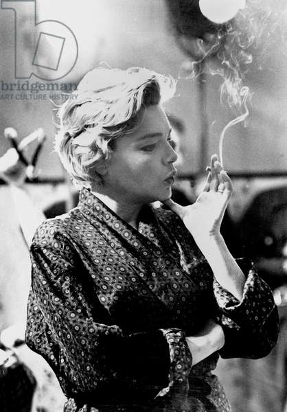 Simone Signoret on Set of Film Adua and her Friends May 1960 (b/w photo)