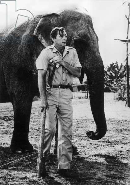 "Robert Mitchum in Kenya on Set of Film ""Mr Moses"" February 16, 1964 (b/w photo)"