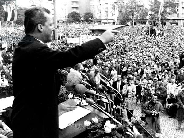 Willy Brandt, Mayor of West Berlin, Making A Speech of Protest Against The Wall on August 17, 1961 (b/w photo)