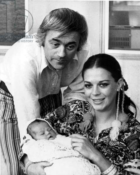 Natalie Wood With her 2Nd Husband Richard Gregson and Their Daughter Natasha Gregson Wagner 1970 (b/w photo)