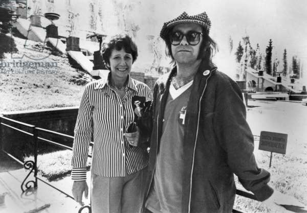 English Singer Elton John and his Mother in Moscow in May 1979 (b/w photo)