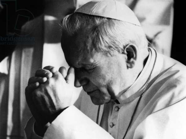 Pope John Paul Ii (Karol Wojtyla) Praying in 1979  (b/w photo)