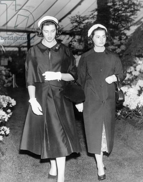 Princess Elizabeth of Yugoslavia and her Cousin Alexandra at Chelsea Flower Show 1957 (b/w photo)