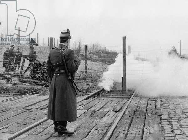 Berlin Wall : Destruction of the Railway Between East Berlin and West Berlin by Soviet authorities on December 11, 1961 (b/w photo)