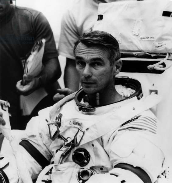 Apollo 14 (January-February 1971) : Astronaut Eugene A. Cernan (Member of The Backup Crew) during Training (b/w photo)