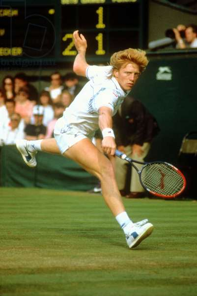 Tennisman Boris Becker at a Wimbledon Game in June 1988 (photo)