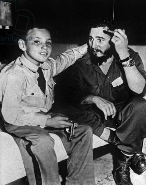 Fidel Castro and his Son Fidelito in Havana on February 14, 1959 (b/w photo)
