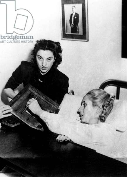 Eva Evita Peron (1919-1952) Is Sick : 3 500 Masses Have Been Said in Argentina For her Recovery June 22, 1952 (b/w photo)
