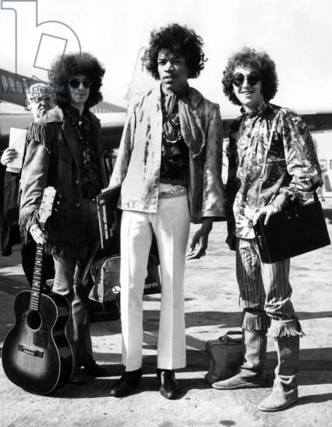Jimi Hendrix With Noel Redding and Mitch Mitchell at The Airport Coming Back From Their American Tour on August 21, 1967 (b/w photo)