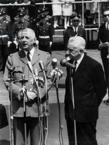 French President Charles De Gaulle Making Speech at Buenos Aires Airport in Argentina, October 1964 (b/w photo)