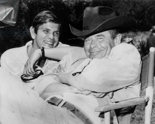 Glenn Ford and his Son Peter Ons Et of Film Heaven With A Gun in 1968 (b/w photo)