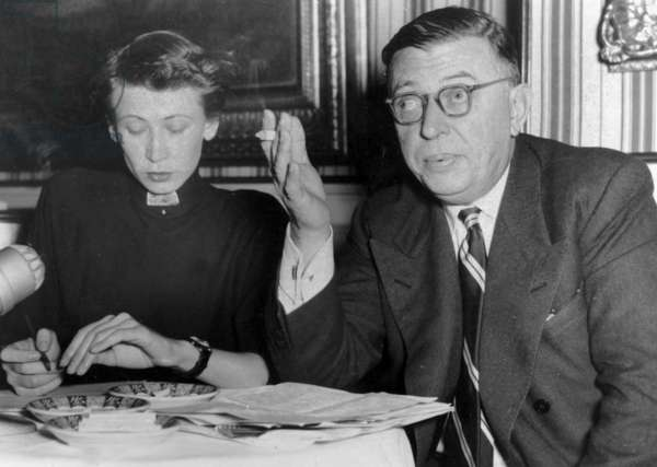 """Jean Paul Sartre during Press Conference in Vienna To Explain That He Tried To Oppose To The Performance of his Play """"Les Mains Sales"""" in Vienna September 27, 1954 (b/w photo)"""
