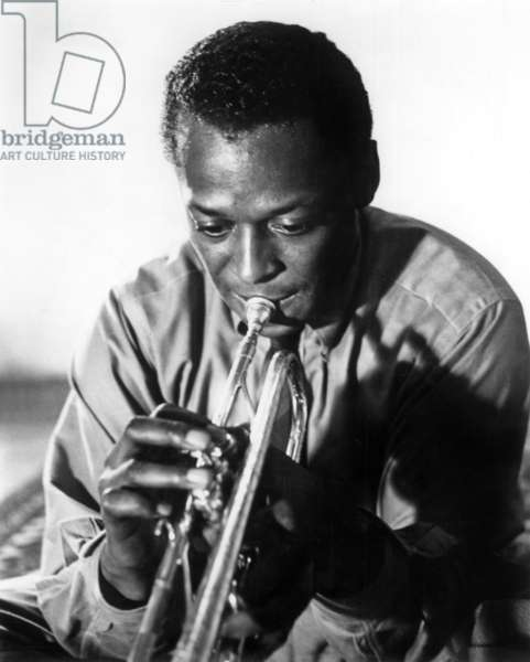 Miles Davis (1926-1991) American Jazz Trumpet Player, 1959 (b/w photo)