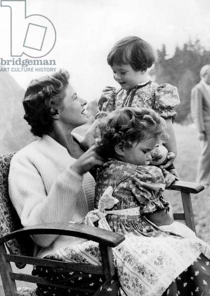 Actress Ingrid Bergman With Two German Children on Set of Film Fear November 1954  (b/w photo)