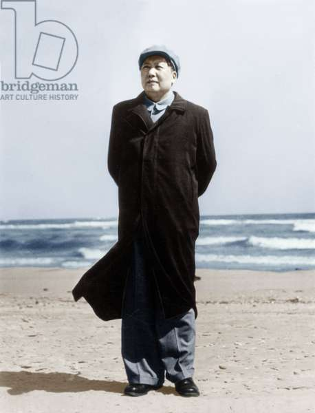 Mao Zedong (1893-1976) on A Beach on March 10, 1964 (photo)