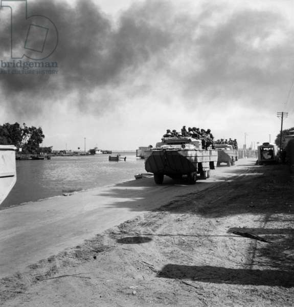 during Suez Crisis : French Soldiers on A Tank in Port Said (Egypt) 1956  (b/w photo)