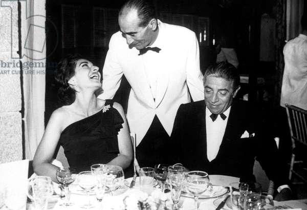 Opera Singer Maria Callas and Greek Shipowner Aristotle Onassis at Restaurant in Palma De Majorque July 4, 1961  (b/w photo)