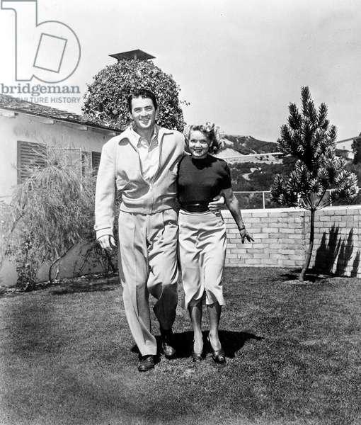 Gregory Peck With First Wife Greta Kukkonen C. 1946 (b/w photo)