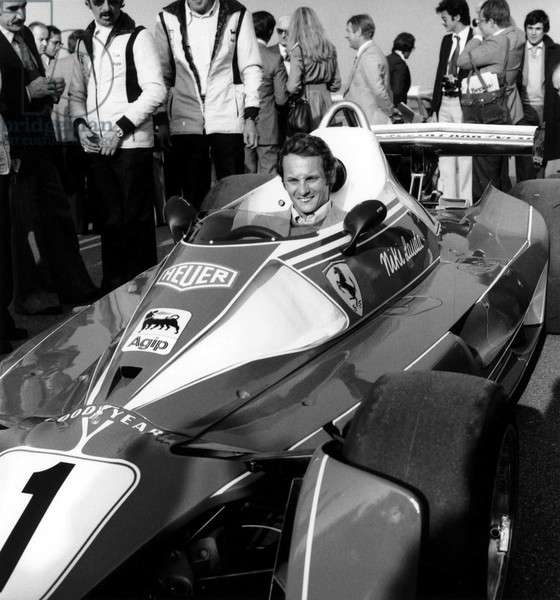 Race Driver Niki Lauda at Wheel of his New Car Ferrari on October 30, 1975 (b/w photo)