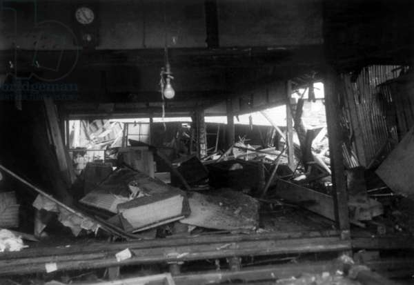View of The Interior of An House Devasted By The Tsunami (Following The Earthquakes in Chile) Which Fell Down on Japan, Photographied, on May 28Th, 1960 (b/w photo)