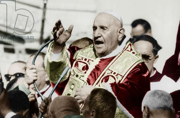 Pope John Xxiii, Ange Joseph Roncalli (1881-1963, Pontificate 1958-1963) during Visit of Loreto Shrine on October 7, 1962 (photo)