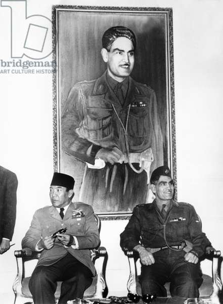 Indonesia President Sukarno With General Abdul Karim Kassem Prime Minister and Minister of Defence of Iraq May 1960 (b/w photo)