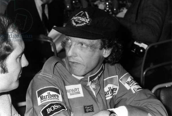Austrian Pilot Niki Lauda Anouncing his Come Back To Automobile Racing Two Years After his Retirement From Competition November 21, 1981 (b/w photo)