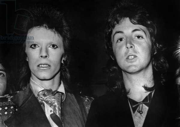 David Bowie and Paul Mccartney, 1973 (b/w photo)