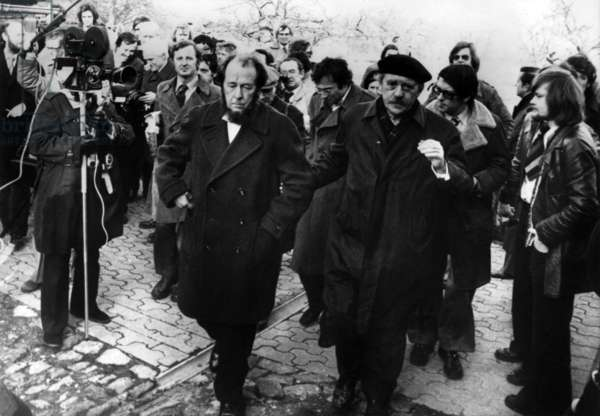 German Writer Heinrich Boell and Russian Writer Alexandre Soljenitsyne With Journalists on February 15, 1974 in Langenbroich Near Cologne Where He Found Refuge (b/w photo)