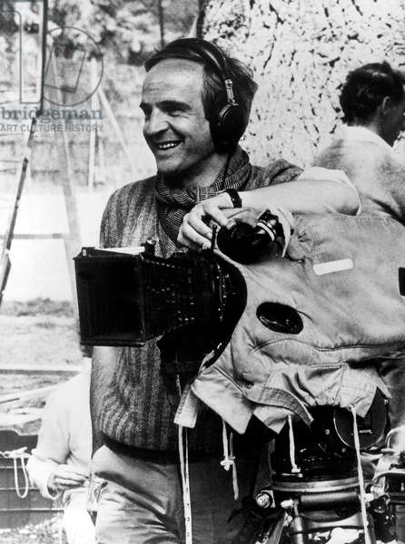French Film Maker Francois Truffaut on Set of Film The Woman Next Door 1981 (b/w photo)