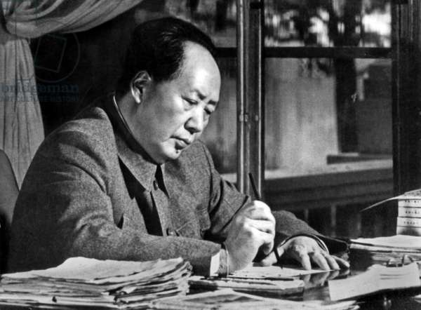 Mao Zedong (1893-1976) Chinese Communist Dictator here at his Desk C. 1955 (b/w photo)