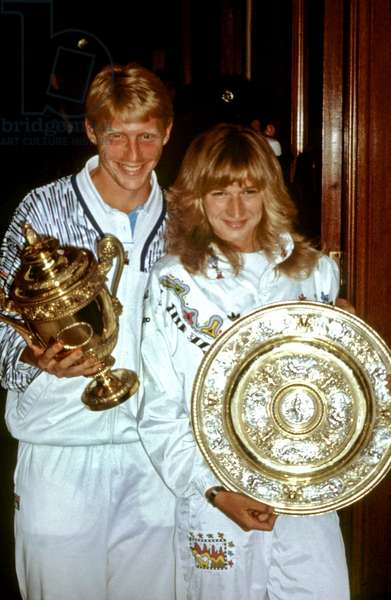 Boris Becker and Steffi Graf Winner of the 1989 Wimbledon Tournament (photo)