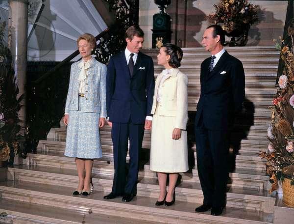 Grand Duchess Josephine-Charlotte of Luxembourg (l) and her husband Grand Duke Jean of Luxembourg (r) with their son  prince Henri (future Grand Duke) and his fiancee Maria Teresa Mestre y Batista, November 1980 (photo)